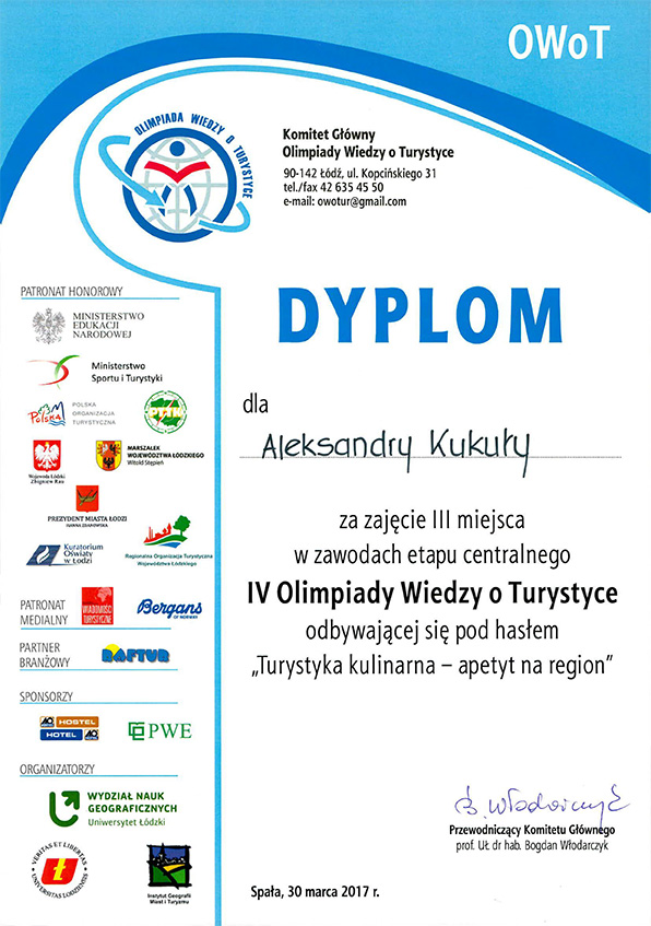 dyplom Aleksandry Kukuły